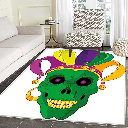 Mardi Gras Anti-Skid Area Mat Scary Looking Green Skull Mask with Carnival Hat Beads and Earring Cartoon Style Soft Area Mats 4