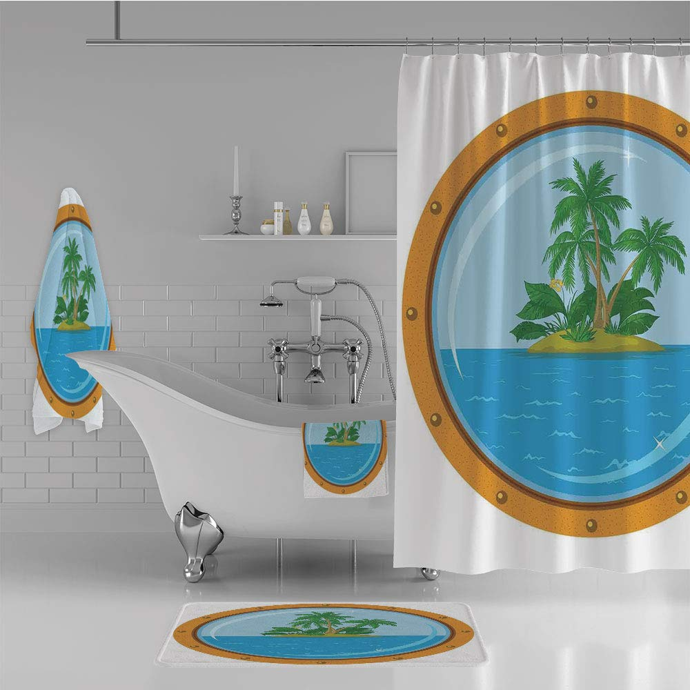 iPrint Bathroom 4 Piece Set Shower Curtain Floor mat Bath Towel 3D Print,Tropic Island View from The Bronze Ship Window,Fashion Personality Customization adds Color to Your Bathroom.