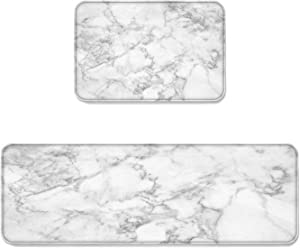 Prime Leader 2 Piece Non-Slip Kitchen Mat Runner Rug Set Doormat White Marble Door Mats Rubber Backing Carpet Indoor Floor Mat (15.7