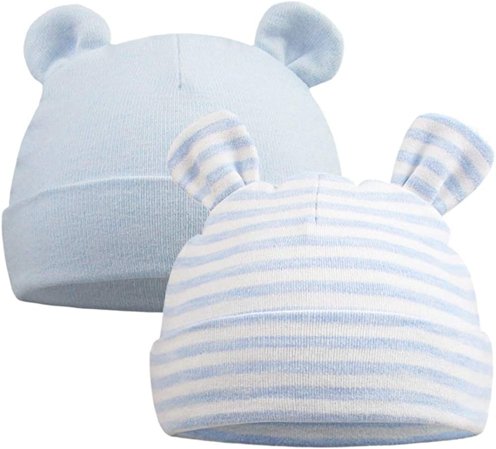 Girls Baby Infant Colorful Striped Soft Hat with Bow Cap Fashion Newborn Beanie