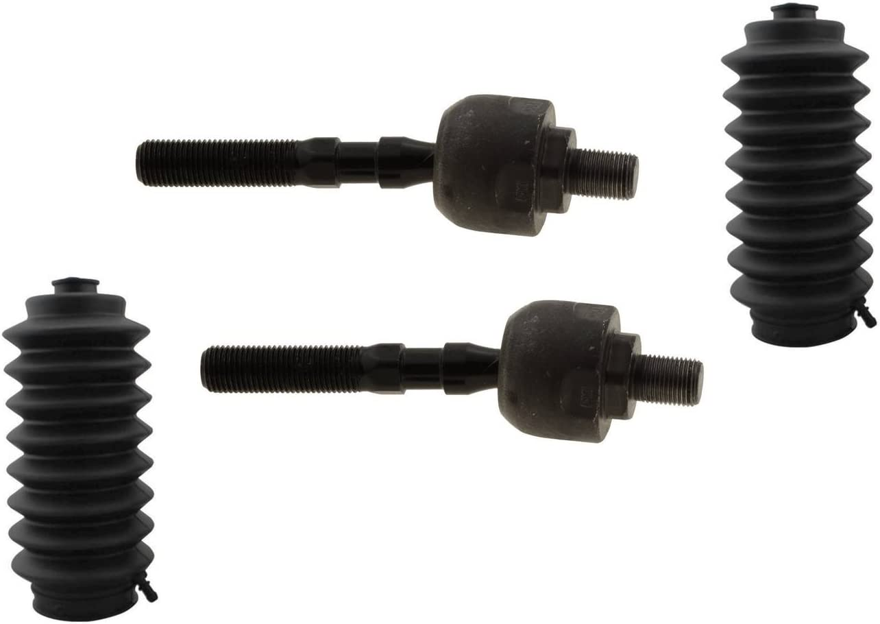 PartsW Set of 2 Power Steering Rack and Pinion Bellow Boot 2 Front Inner Tie Rod Ends