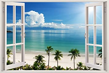 Delightful Removable Wall Decals   Huge Vinyl Mural   3D Window View Stickers   Large  Nature Poster Amazing Pictures