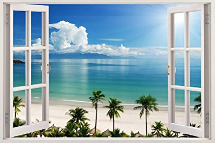 Realistic Window Wall Decal U2013 Peel And Stick Nautical Decor For Living Room,  Bedroom,