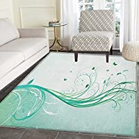 Turquoise Area Rug Carpet Illustration Floral Victorian Style Curvy Lines Wave Butterfly Design Customize door mats for home Mat 2x3 Mint Green Pale Green
