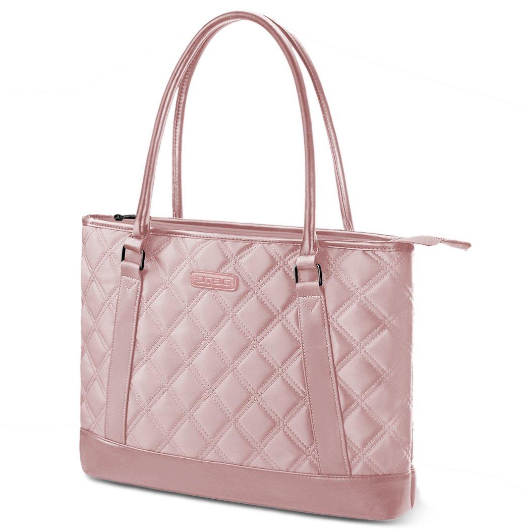 Laptop Tote Bag, DTBG 15.6 Inch Nylon Classic Diamond Pattern Travel Business Computer Shoulder Bag Carrying Briefcase Handbag For 15 - 15.6 Inch Laptop / Notebook/ MacBook/Ultrabook/Tablet,Rose Gold