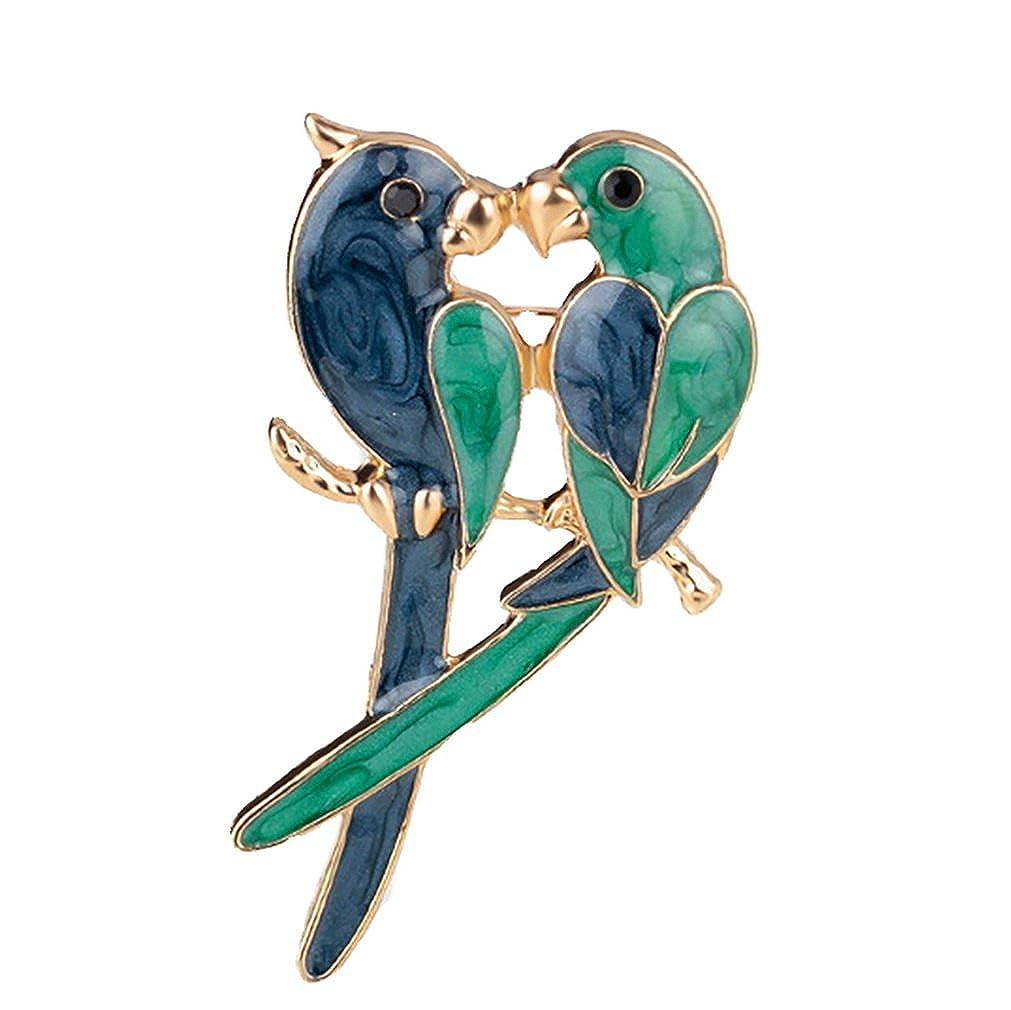 Yazilind Mode bleu et vert inséparable deux oiseaux Broches en alliage en Inde Femme filles Accessoires YAZILIND JEWELRY LIMITE 1706Y0048
