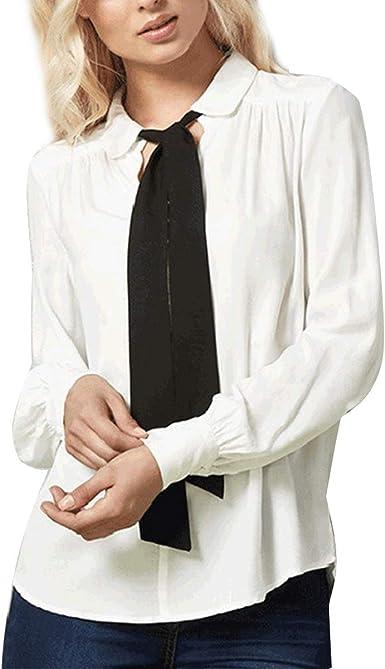 YUETUZHUANGSHI Camisa Blanca de Gasa Blanca con Camisa de ...