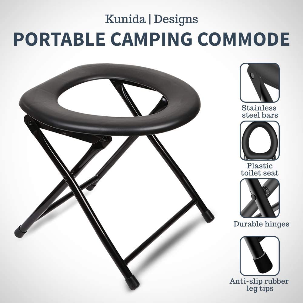 Yoni Steam Seat Folding... Portable Camping Toilet Chair with Backrest