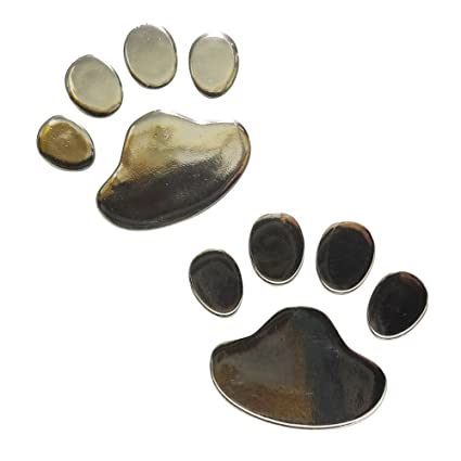 2x Aufkleber 3d Pfoten Tatzen Von Hund Oder Katze Chrom Sticker Silber 60 X 70 Mm
