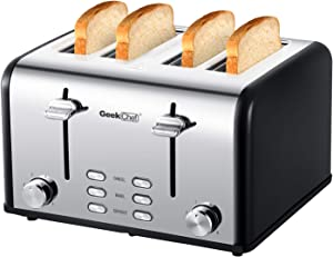 Geek Chef 4-Slice Toaster Stainless Steel Extra-Wide Slot Toaster with Dual Control Panels of Bagel, Defrost, Cancel Function, 6 Toasting Bread Shade Settings, Removable Crumb Trays, Auto Pop-Up (Renewed)
