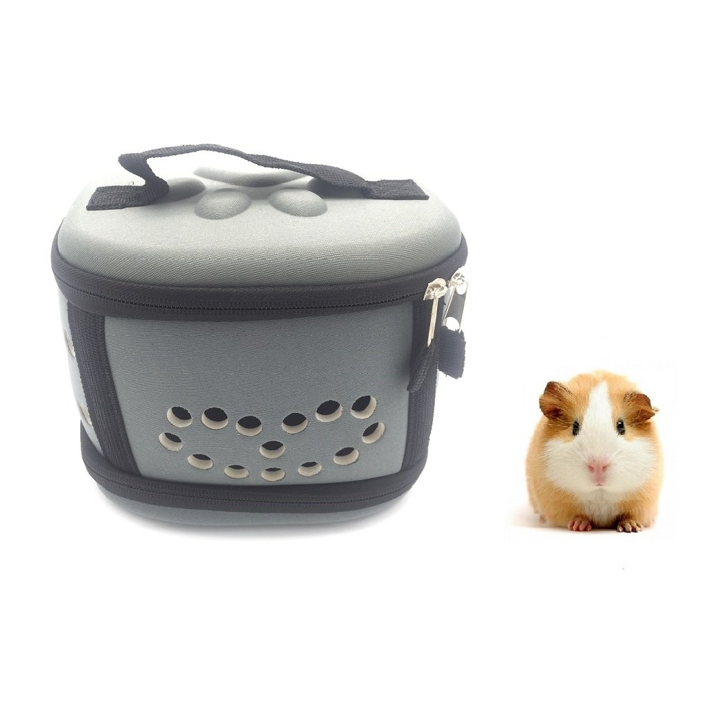Portable Mini Poodle Puppy Carrier Hamster Cage - Cute Travel Carrier Hard-sided Cage for Small Animal Puppy Kitty Hedgehog (Grey)