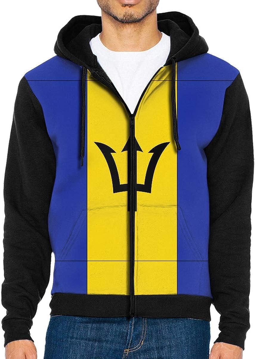 HEHE TAN Men Pullover Hood Barbados Flag Zip Hoodies Hooded Popular Jackets Coats