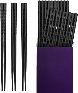 10 Pairs Fiberglass Chopsticks, Briout Reusable Chopsticks Non-slip Dishwasher Safe, 9 1/2 Inches, Black
