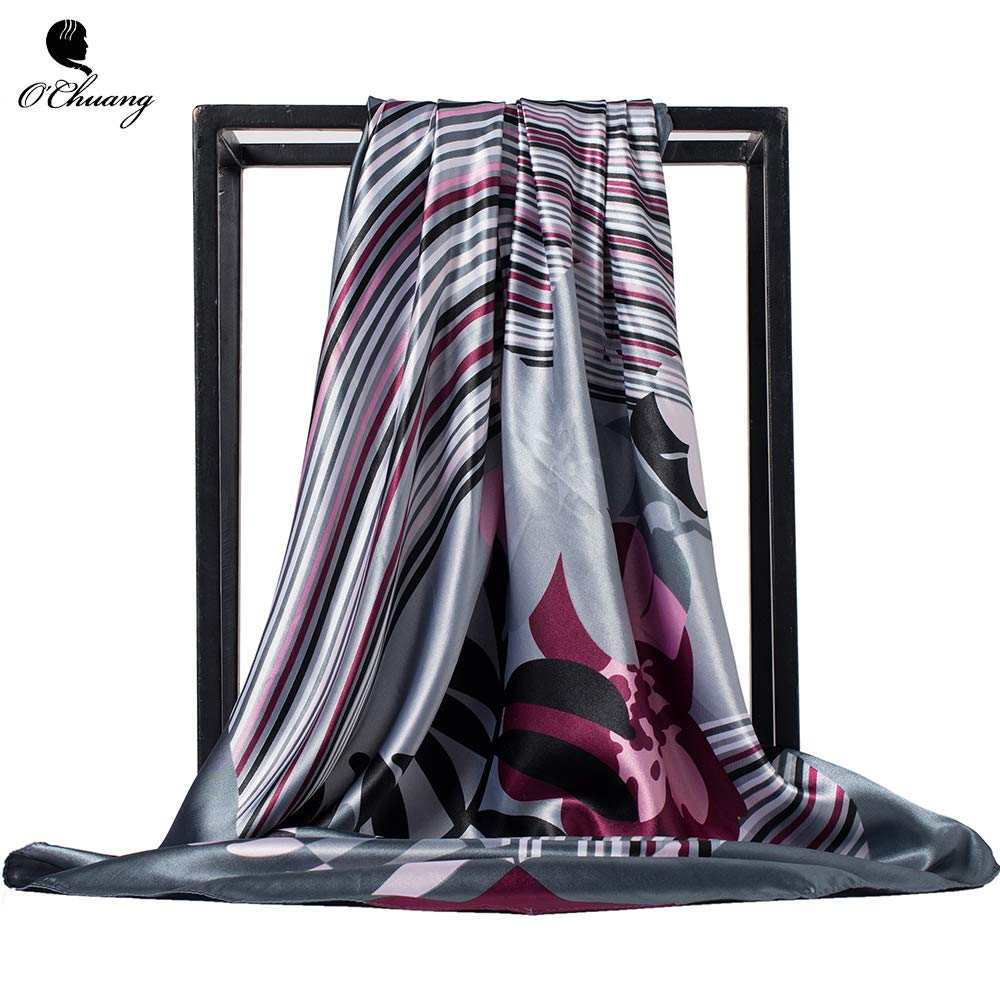 Wasab Fashion Women Square Scarf Luxury Brand Hijab Silky Satin Shawl Scarfs Foulard Head Silk Scarves Stoles 90x90cm