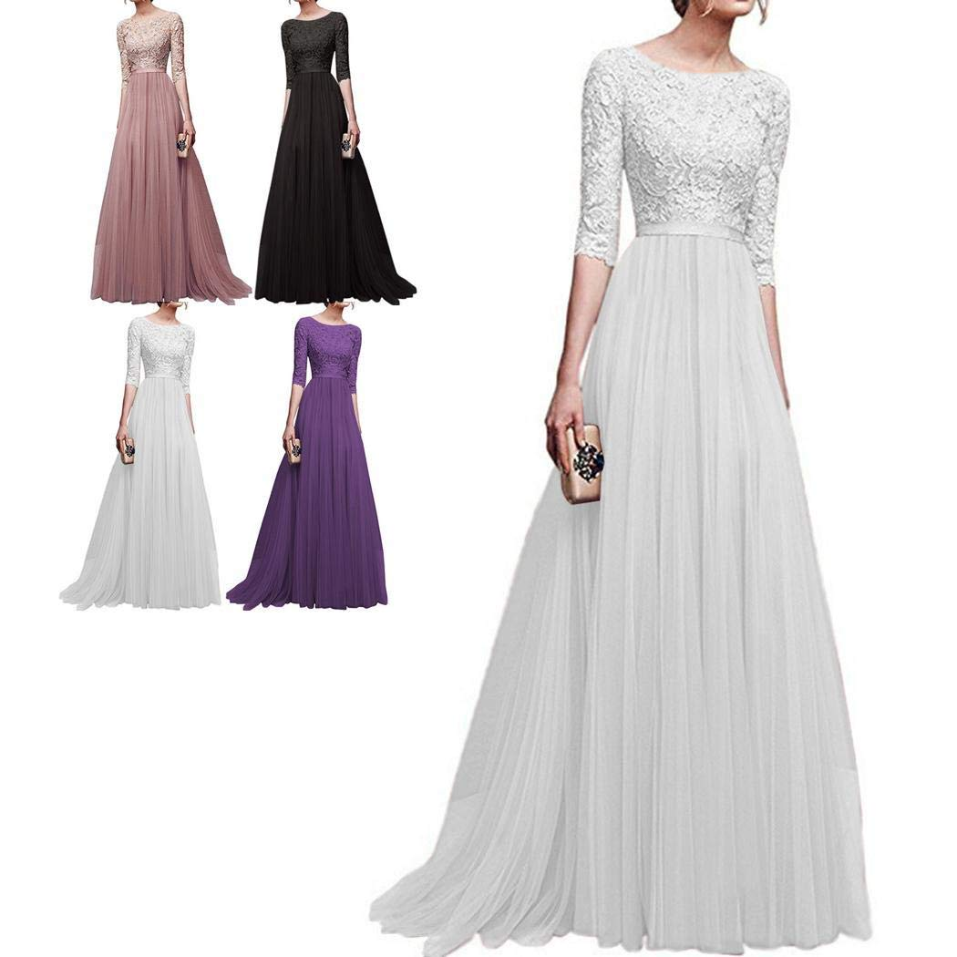 Baguet Women Lace Floor Length Pleated Dress Wedding Cocktail Ball Gown Dresses