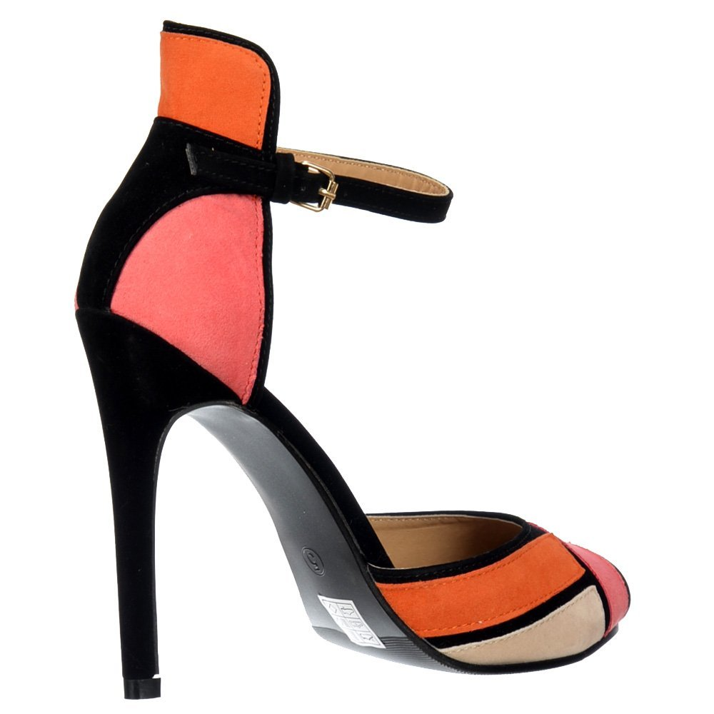 daebdc1cef814 Onlineshoe Peep Toe Mid Heels - High Back Strappy Sandals - Coral Orange  Cream Black Suede UK 7 - EU40  Amazon.co.uk  Shoes   Bags