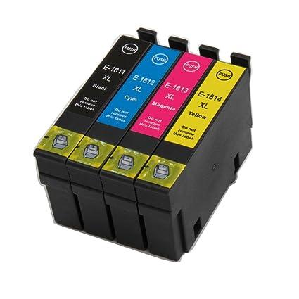 NlasBou 4 cartuchos de tinta compatibles 18xl/1811-1814xl ...