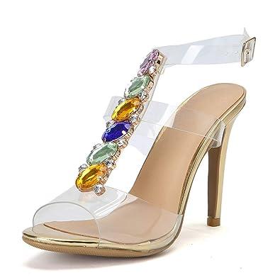 Sandales Femmes Chaussures Strass Stiletto T Transparent Cristal XP0wOkN8n