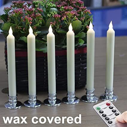 amazon com flickering flameless taper candles set of 6, ivory, 10