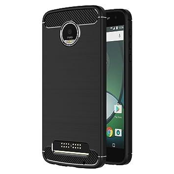 MaiJin Funda para Motorola Moto Z Play (5,5 Pulgadas) TPU Silicona Carcasa Fundas Protectora con Shock Absorción y Diseño de Fibra de Carbon (Negro)