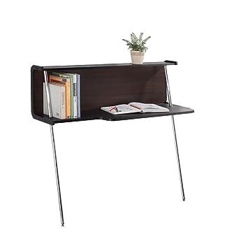 IoHOMES Modern Leaning Office Desk, Dark Walnut