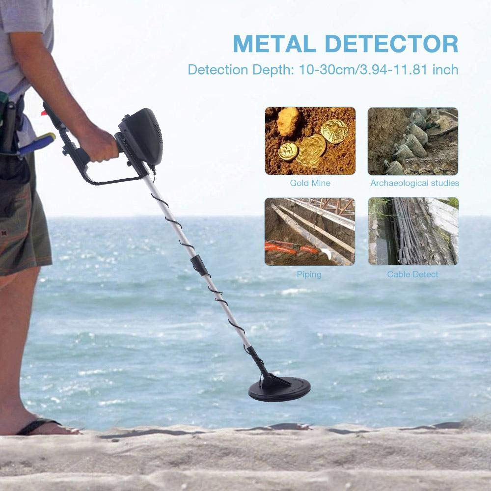 FOONEE Detector de Metales, Detector de Metales subterráneos de Playa Resistente al Agua, Herramienta de búsqueda de Tesoros de Metal Manual de Alta ...