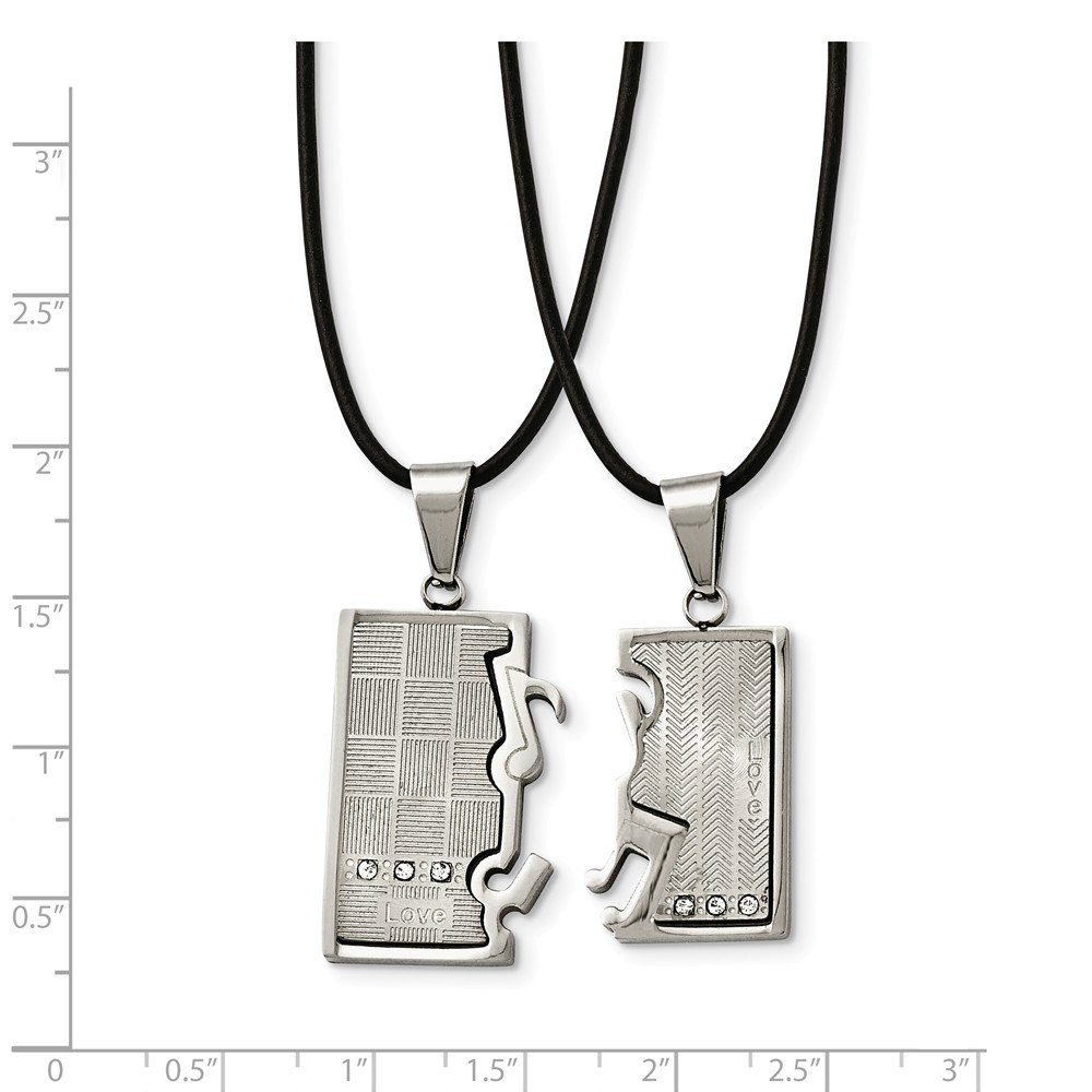 Stainless Steel Polished//Brushed CZ Love Music Halves Necklace Set