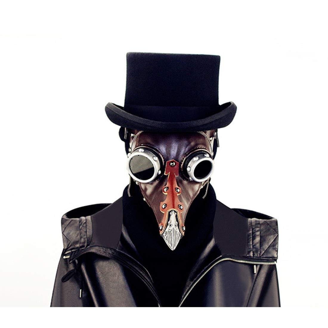 Yammucha Full Leder Steampunk Full Yammucha Face Pest Arzt Vogel Maske Long & Short Nase Schnabel Faux Cosplay Halloween Weihnachten Kostüm Requisiten (Farbe : Style2) ad544a