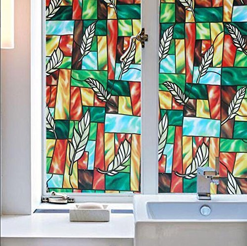 VEOLEY Colourful Pattern Window Film Static Window Cling Film Window Sticker for Home/Office/Shop Window Treatment, 1.5Ft x 6.5Ft