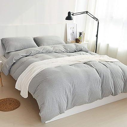 f6a408c92 LIFETOWN Jersey Knit Cotton Duvet Cover Set King Size Light Gray Bedding  Set 3 Pieces (