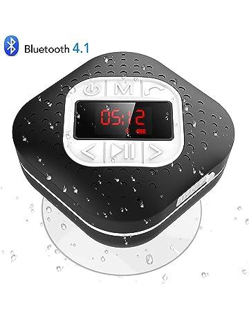 Altavoz Bluetooth Ducha Impermeable con Ventosa Extraíble, AGPTEK Radio Ducha Portátil con Pantalla Funciones de