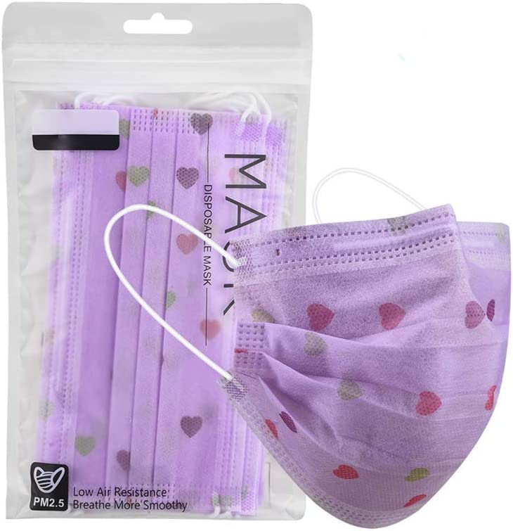 Aberimy 10//20//30//50//100//200PCS Purple Heart Print Disposable Face Bandanas Cover Cloth Covering Breathable Washable Mouth Protective for Adults Adjustable Earloop Cycling Outdoor Indoors Unisex