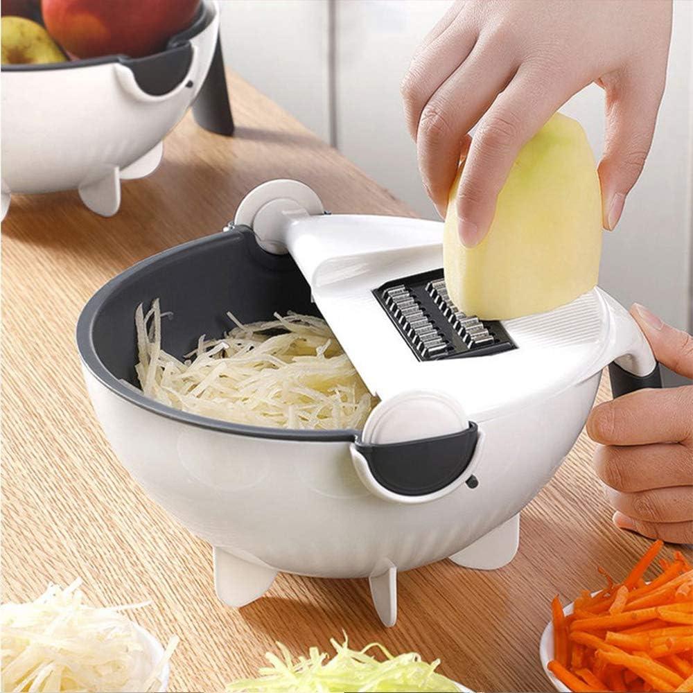 9 In 1 Magic Rotate Vegetable Fruit Cutter Grater Multifunction w//Washing Basket