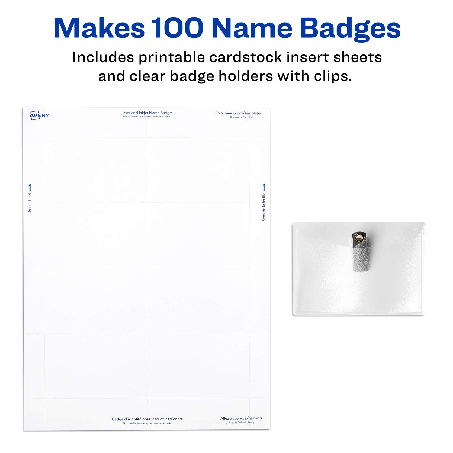 Amazon avery clip name badges print or write 2 14 x 3 12 amazon avery clip name badges print or write 2 14 x 3 12 100 inserts badge holders with clips 74461 badge inserts office products maxwellsz