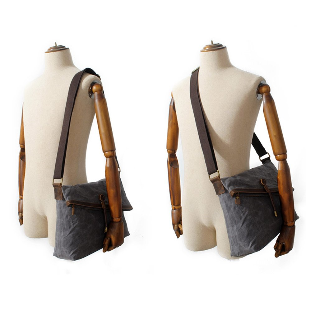 d85f84ec638c Crossbody Bags Waxed Canvas Vintage Genuine Leather Trim Fold Over Bag  Unisex S020-US