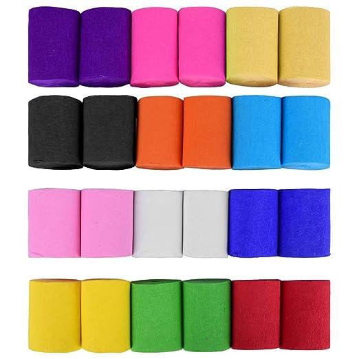 24 Rollos de Serpentina de Papel Crepé Bandas de Multicolor ...