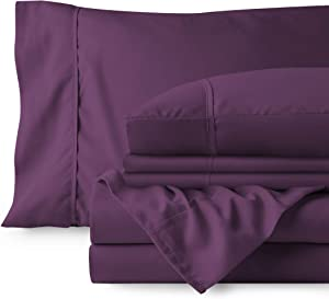 Bare Home Bedding Bundle - 7 Piece Microfiber Sheet Set with 4 Pillowcases (Split King, Plum)