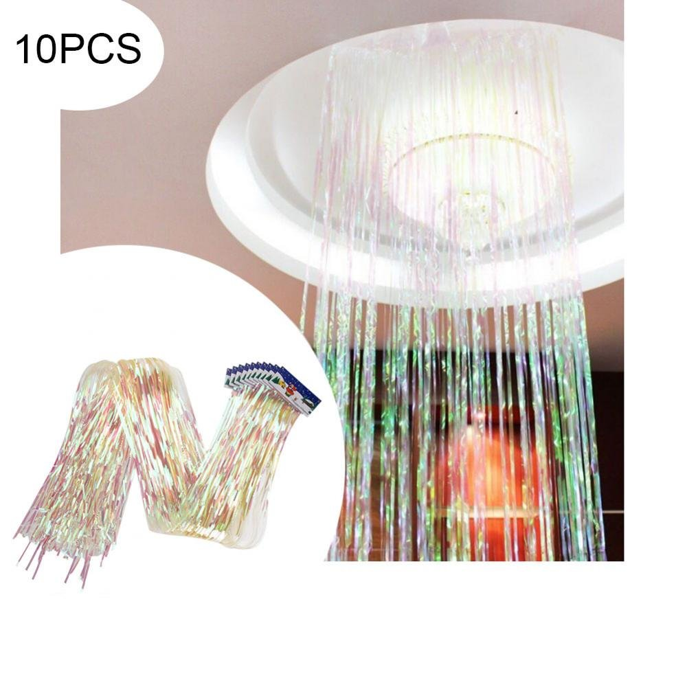 GLOGLOW 10Pcs Glitter String Curtain Transparent Strip Tassel Curtain Room Hanging for Wedding Birthday Party Photo Backdrop Room Decoration 6CMx1M Clear