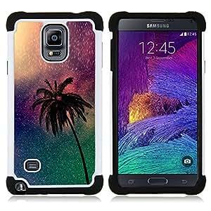 """Samsung Galaxy Note 4 IV / SM-N910 - 3 en 1 impreso colorido de Altas Prestaciones PC Funda chaqueta Negro cubierta gel silicona suave (Árbol de la Noche Universo Miami Noche"""")"""