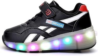 RECOLLECT Unisex Niños Zapatillas con Ruedas LED Luz Parpadea Deportes al Aire Libre Skateboard Sneaker USB Recargable Automática Retráctiles Zapatos de Roller para Niño/Niña: Amazon.es: Ropa y accesorios