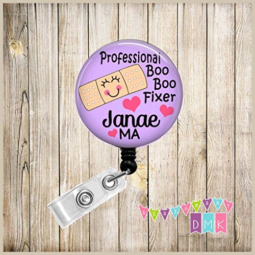 Professional BOO BOO Fixer- Purple - PERSONALIZED - Button Badge Reel