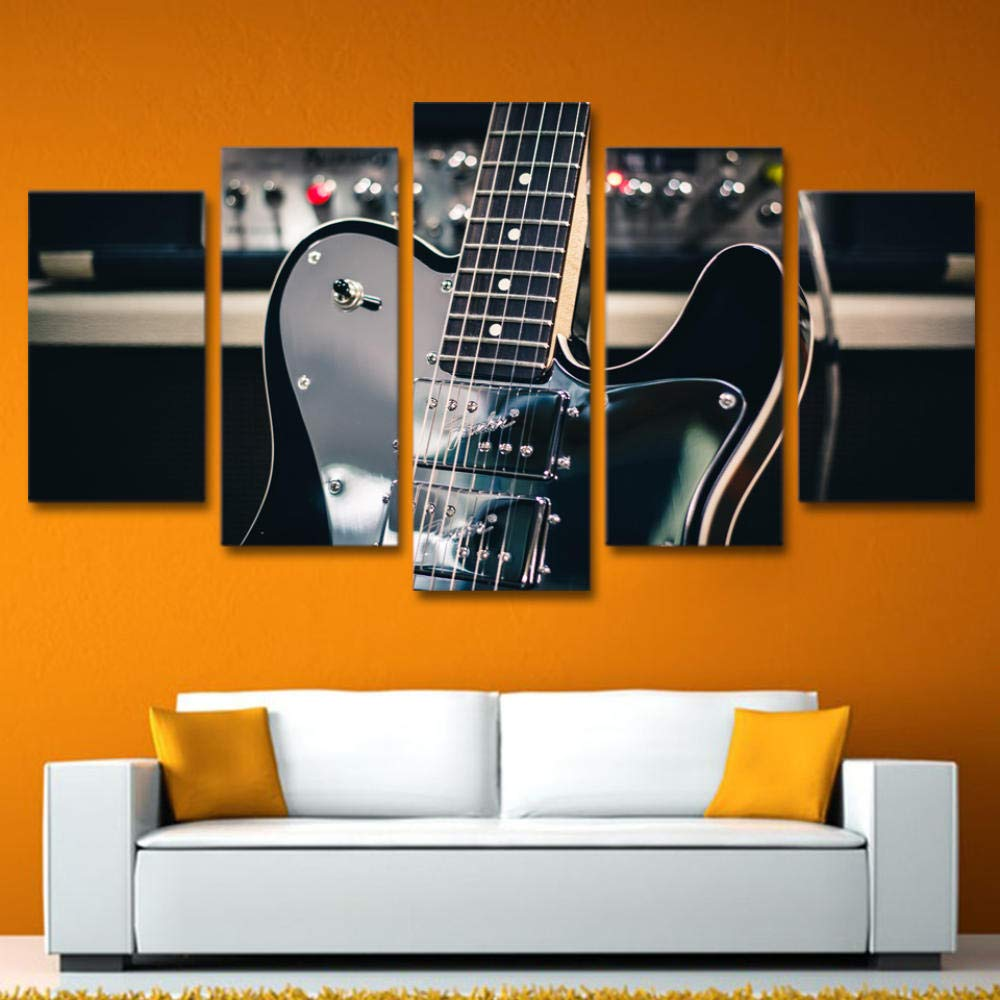 WHdazhuan 5 Panel Hd Print Canvas Painting Black Guitar Musical Instrument Painting Artwork Decorative Wall Pictures for Living Room Bedroom Decoration-20X35 20X45 20X55Cm-Framed by WHdazhuan