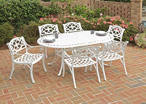 Home Styles 5552-338 Biscayne 7-Piece Outdoor Dining Set with Oval Shape Table and Arm Chair, White Finish, 72-Inch