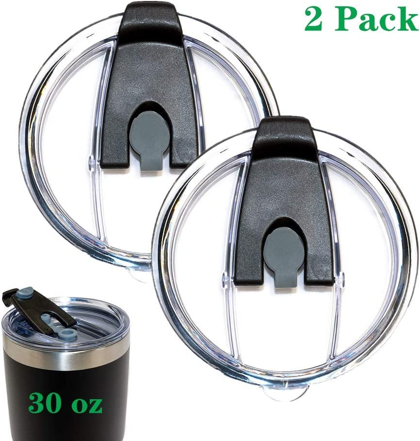 2 Replacement Flip Lids for Stainless Steel Insulated Tumbler Travel Mug, Compatible w/YETI Rambler,Ozark Trail,Old Style Rtic and More (30 oz(Spill Proof Splash Resistant Lid) (30 Oz, Black 2)
