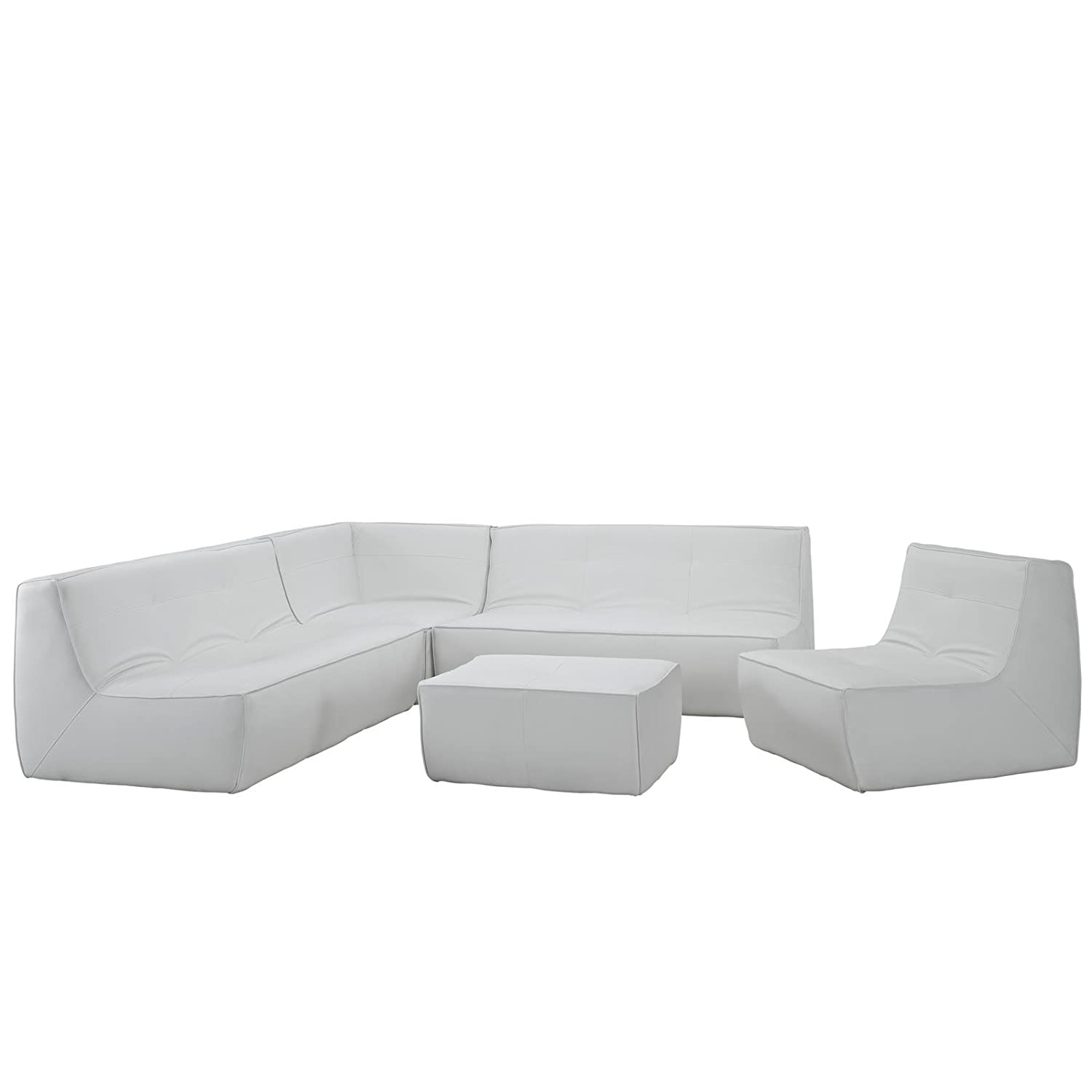 Amazon Modway Align 5 Piece Bonded Leather Sectional Sofa Set