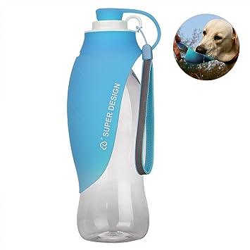 Petacc Botella de agua para mascotas de silicona, botella de agua para viajes portátil con