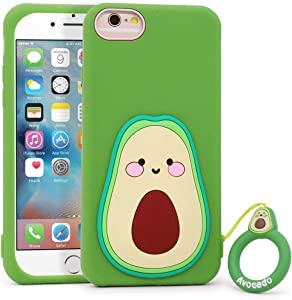 Megantree Cute iPhone SE 2020 case, iPhone 6 Case, iPhone 6s Case, iPhone 7 Case, iPhone 8 Case, Funny Fruit Avocado Shaped Soft Silicone 3D Cartoon Shockproof Back Cover Case for Girls Kids boys Wome