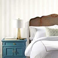 RoomMates Awning Stripe Peel and Stick Wallpaper, Beige