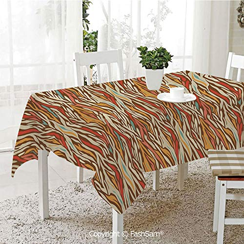 AmaUncle Premium Waterproof Table Cover Abstract Geometric Zebra Pattern Strips in Vintage Colors Creative Artwork Table Protectors for Family Dinners (W55 xL72)]()