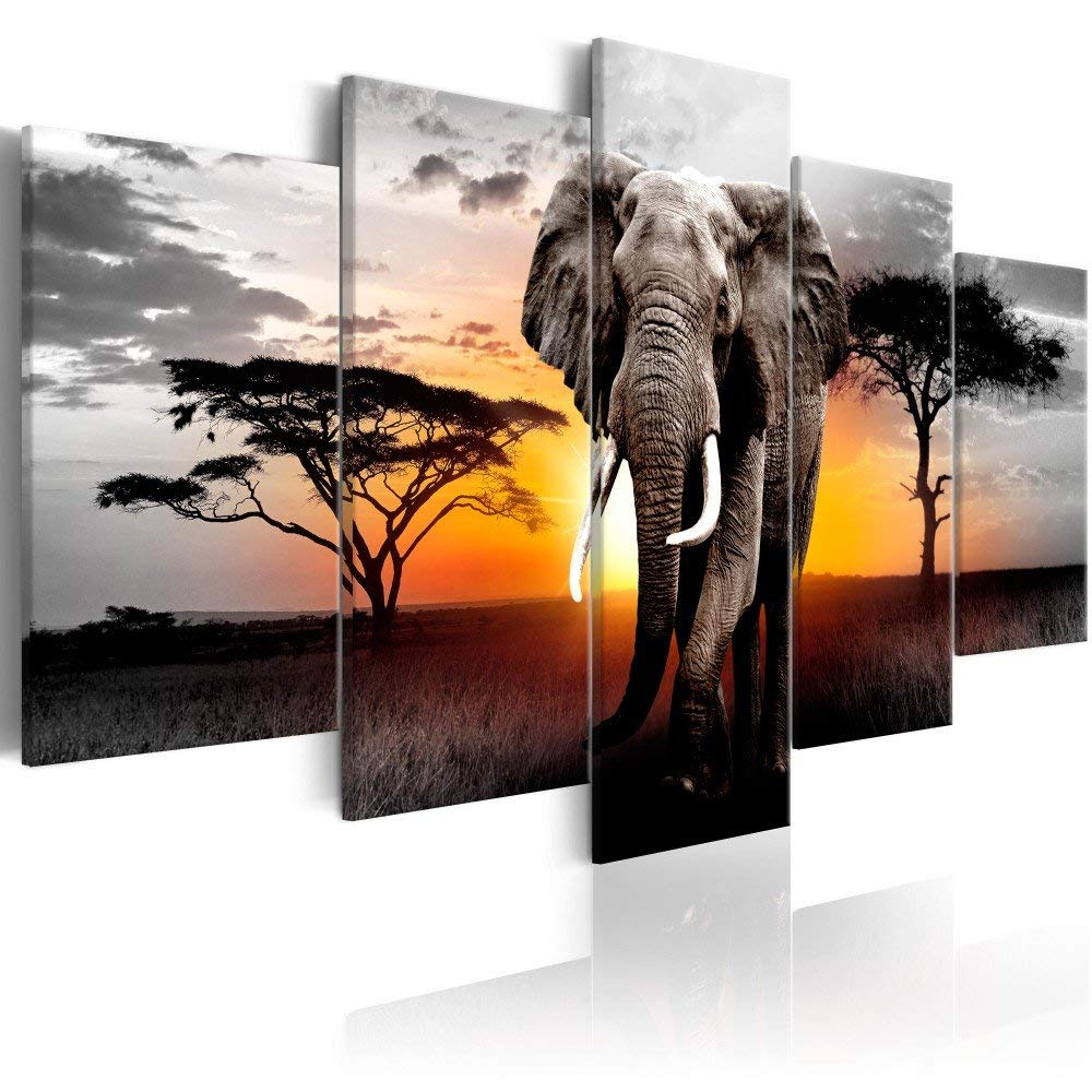 Elephants Animals Landscape Painting Prints on Canvas 5 Panels African Grasslands Wall Art Framed for Living Room